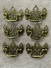 SIX SOLID BRASS CHIPPENDALE STYLE DROP BALE HANDLE DRAWER PULLS with Screws