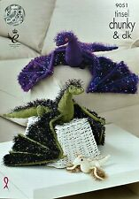 KNITTING PATTERN Tinsel Dragons Knitted Toys 2 sizes Chunky King Cole 9051