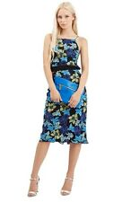 NEW $330 TOPSHOP Women's Blue Embroidered Floral Midi Dress.SZ:10