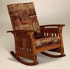 Amish Mission Arts and Crafts Rocking Chair McCoy Rocker Wood Upholstered