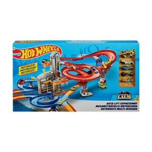 New Hot Wheels Auto Lift Expressway Track Set Play With 5 Cars and 2 Elevators