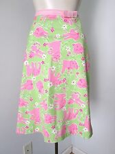 VGC Lilly Pulitzer Green 100% Cotton Pink Elephants A-Line Skirt Lined Ribbon 6