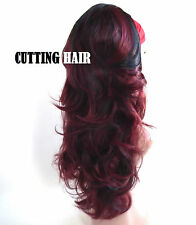 Burgundy Mix Black 3/4 Wig Long Curly Half Wig 053-1B/118