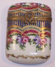 Lovely Vintage Limoges Porcelain Hand Painted Peint Main Trinket Box Roses