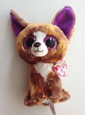 "Ty Beanie Boo ""Dexter"" Brown Chihuahua Babies Boos Purple Glitter Eyes Red Tag"