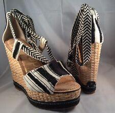 "Sam Edelman Trey Wedge 5 1/4"" Heel 7 M Black White Stripes Canvas Ladies Shoe"
