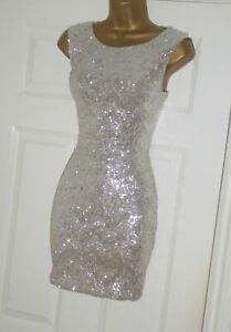 Jane Norman stretchy silver sequin mini bodycon party dress size 10 12