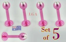 8mm Body Piercing Lip Bar Stud Free Post 5 Pink Labret Monroe Clear gem top 16g