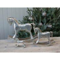 Chic Antique Schaukelpferd Weihnachten Shabby Vintage Toulon Silber Christmas