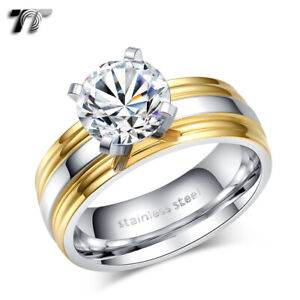 TT Two-Tone Gold STripe Stainless Steel Wedding Band Ring Size 6-10 (R336)