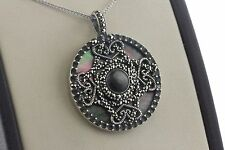 Sterling Silver 925 Black Mother of Pearl Marcasite Swirl Style Flat Pendant