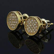 Mens Gold Plated Hip Hop Iced Out Small Round Circle Screw Back Stud Earrings