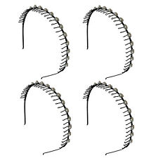 4 PCS  Pearl Beads Black Hairband Comb Headband Metal Wire Teeth