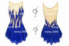 Ice Skating Dress Competition Skating Wear Handmade Fashion royal blue