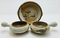 Vtg 70's Signed Speckled Earthy Stoneware Serving Set 3 Pic Studio Pottery