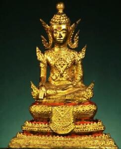 BUDDHA: Antique RATTANAKOSIN from  Thailand, Bhumisparsha, Gilded Bronze.,1800's