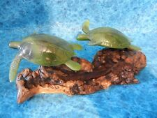 SEA TURTLE COUPLE SCULPTURE - Signed John Perry Statue - Elegant Jade Color