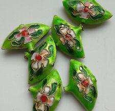 6 dell'era Maji Perline, Verde/Rosa Fiore Fan 25 mm gioielli