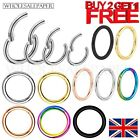 SURGICAL STEEL NOSE RING CLICKER SEPTUM HINGE SEGMENT FACE HOOP EAR LIP PIERCING