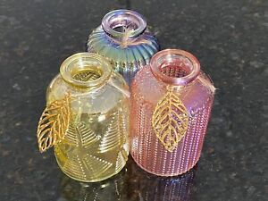 "Set/3 Decorative Colored 4"" Glass Bottles w/Leaf Charm Pink Yellow Purple"