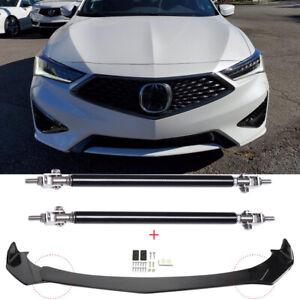 For Acura ILX 2015-2021 Front Bumper Lip Splitter Spoiler Glossy + Strut Rods