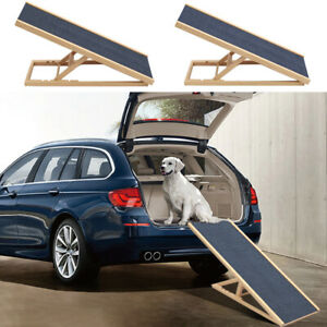 Dog Pet Ramp Wooden Puppy Adjustable Height Non Slip Carpet Surface Car Stair