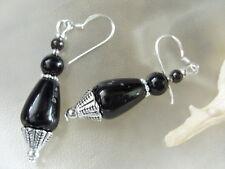 Elegante schwarze Achat Tropfen Ohrringe Earrings m.Granat & 925 Silber Ohrhaken