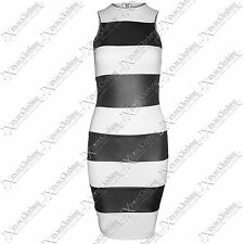 NEW WOMENS LADIES WET LOOK PU PANEL BODYCON DRESS SLEEVELESS BLACK VEST DRESSES