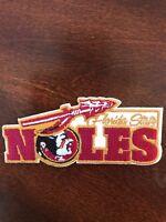 "FSU Florida State Seminoles Vintage Embroidered Iron Patch (NOS) 4"" x 1.5"" RARE"