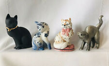 4 Franklin Mint Curio Cabinet Cats Basalt Delft Staffordshire Pewter Figurines