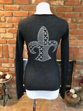 ANKH Royalty sz M Gray Black Rhinestone Fleur De Lis Long Sleeve Tunic Shirt Top