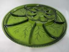 Deviled Egg Plate & Relish Platter Avocado Green Pebble Leaf Indiana Glass