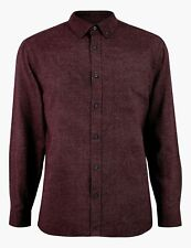 MARKS & SPENCER MENS M&S WARM BRUSHED COTTON BURGUNDY L/S SHIRT S M L XL 4XL