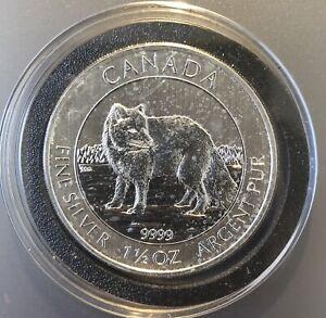 2014 Canada ARCTIC FOX 1 1/2 oz Silver  .9999 Fine Silver in Capsule .