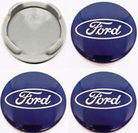Blau Ford 4 x 54mm Alufelge Nabenkappen Nabendeckel Satz