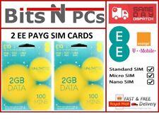 2  EE Pay As You Go £10 Data Pack SIM - Includes Standard / Micro / Nano SIM