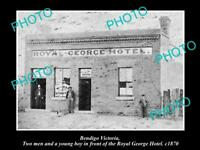 OLD LARGE HISTORICAL PHOTO OF BENDIGO VICTORIA, VIEW OF ROYAL GEORGE HOTEL c1890