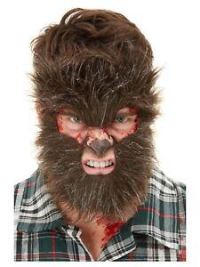 Brown Hairy Fake Werewolf Fur Mask Halloween Fancy Dress Costume Accessory
