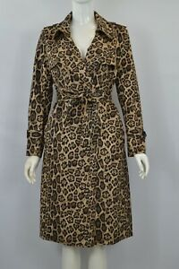 Ladies Double Breasted Leopard Print Long Sleeve Trench Coat Brown S M L