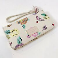 BETSEY JOHNSON White Multi-Color FLORAL Butterfly WALLET Bifold