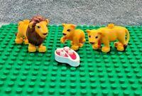 LEGO DUPLO Lion Family Bundle - Lion, Lioness & Cub Plus Duplo Beef Steak