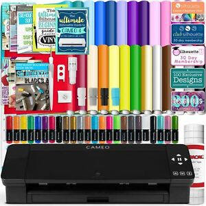 Silhouette Black Cameo 4 w/ 26 Oracal Glossy Sheets, Guides, 24 Sketch Pens