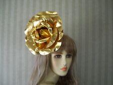 "GOLD Rose Fascinator Wedding Fascinator, Kentucky Derby Hat, Easter Tea 9"" wide"