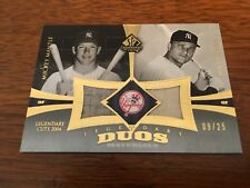 2004 SP Legendary Cuts Duos Mickey Mantle & Roger Maris PATCH 9/25 Maris' Number