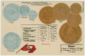 1910 Siam Embossed Coins Postcard numisamtic history w/ FLAG, 8.8x13.8 cm.