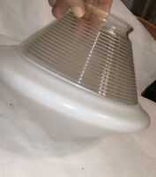 Art Deco Vintage Ceiling Light Lamp Pointed Shade Milk & Clear