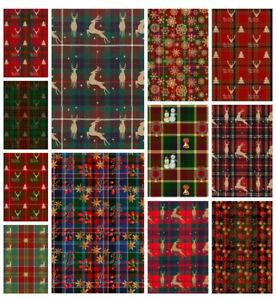 RUSTIC TARTAN DEER CHRISTMAS  BACKING PAPERS - 4 or 12 x A4 Sheets- 160gsm