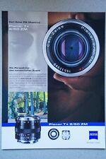 Carl Zeiss prospetto obiettiva opuscolo Planar Sonnar Distagon Tessar ecc x2407