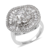 5.00 tcw. Simulated Diamond Cocktail Ring in Silvertone Size 10.0