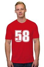 Marco Simoncelli 58 Blanco Texto Camiseta Moto Gp Rider Hombre, Mujer, Niños Fit